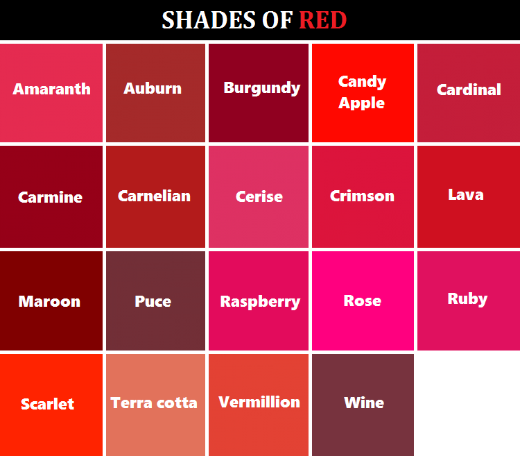 Shades Of Red And Their Names Art Writing Colors Reference Dessofsax
