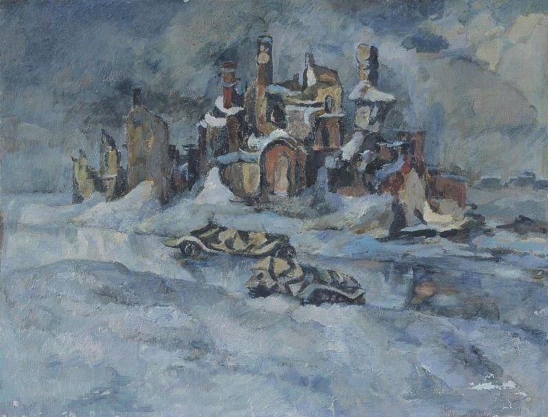 Пейзаж. Воспоминание о войне   Кондратьев Павел Михайлович   1951   Rybinsk State Architectural, Historical And Art Museum Preserve   Public Domain