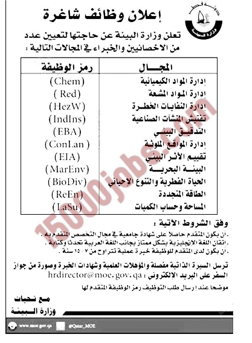 مطلوب اخصائيين وخبراء لوزارة البيئة القطرية وظائف قطر Words Jig Environment