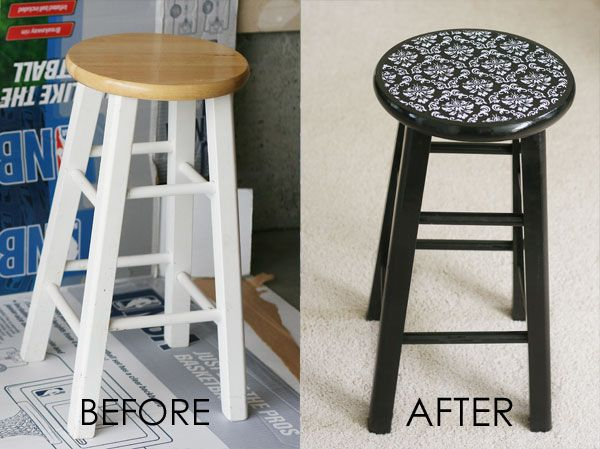 Cheap barstool makeover.  Paint, mod podge and fabric.  Would be cute to make bright happy colors for play room or craft table. Could also cut legs down for child sized stools.