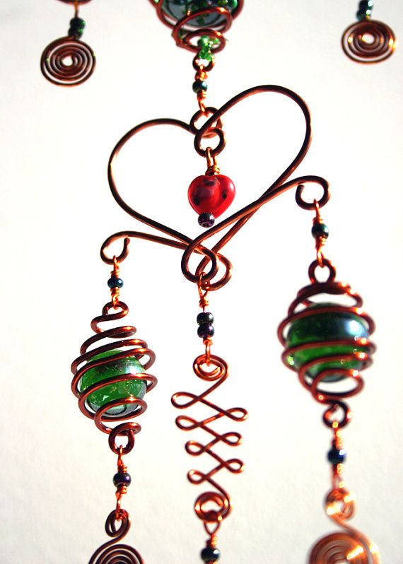 Hanging Mobile Heart Shaped Glass Suncatcher Copper Wire Art Thanks ...