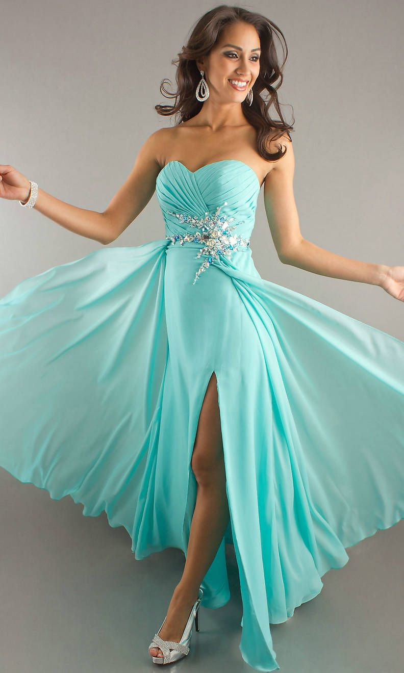 Long Ruched Sequin Strapless Sweetheart Front Slit V Neck Aqua ...