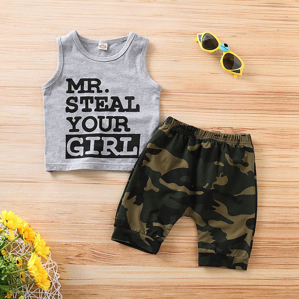 Camouflage Shorts Outfit Set Infant Baby Toddler Boy Clothes Mr Steal Your Girl Vest