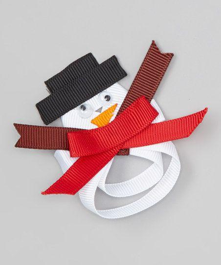 White Snowman Bow Clip
