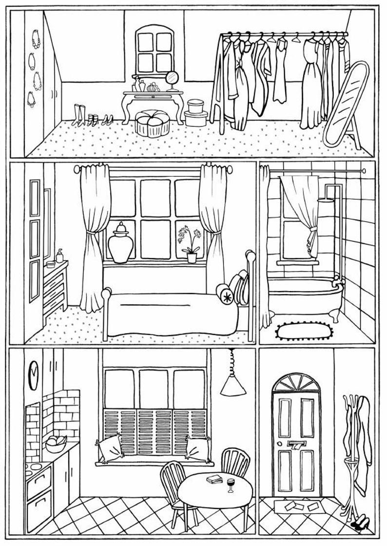 BUNDLE of 4 colouring pages house interiors instant Etsy