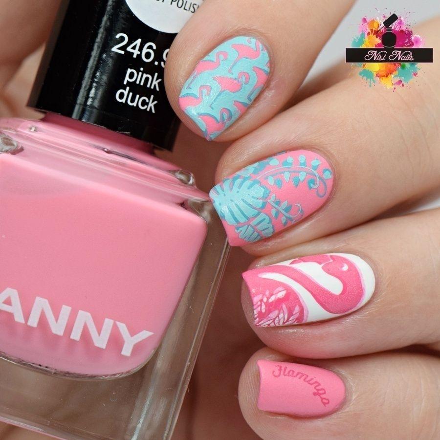 Beautiful Summer Nail Art. Inspire by Flamingos and summer ...
