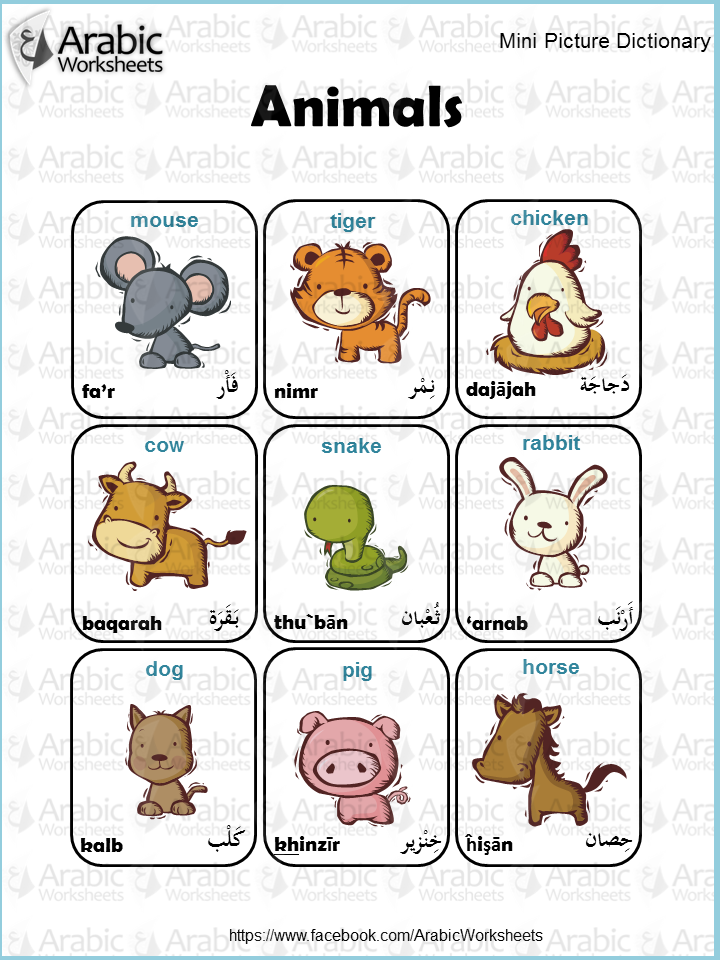 Arabic English Picture Dictionary Animals Arabic Kids Arabic Language Learning Arabic