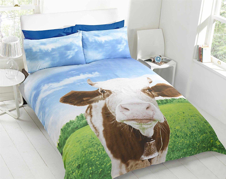 Elegant Cow Themed Farm Animals King Quilt Duvet Cover U0026 2 X Pillowcase Bedding Bed  Set: