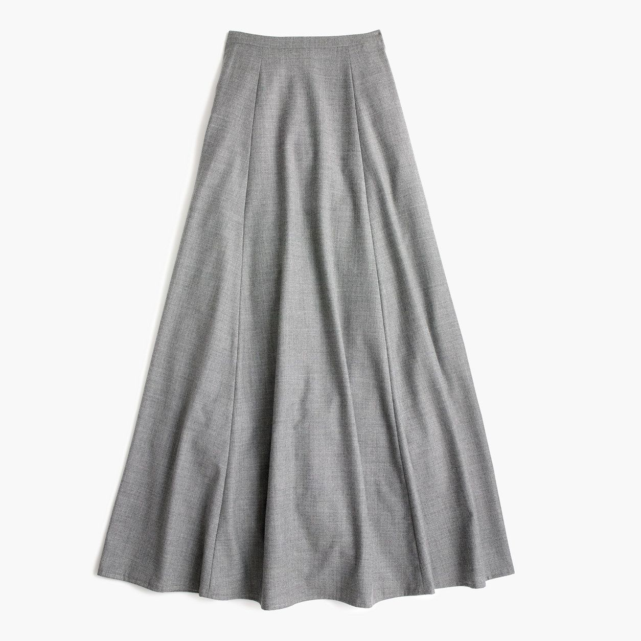 a25bac949d1c J.Crew Womens Collection Maxi Skirt In Wool Flannel (Heather Grey ...
