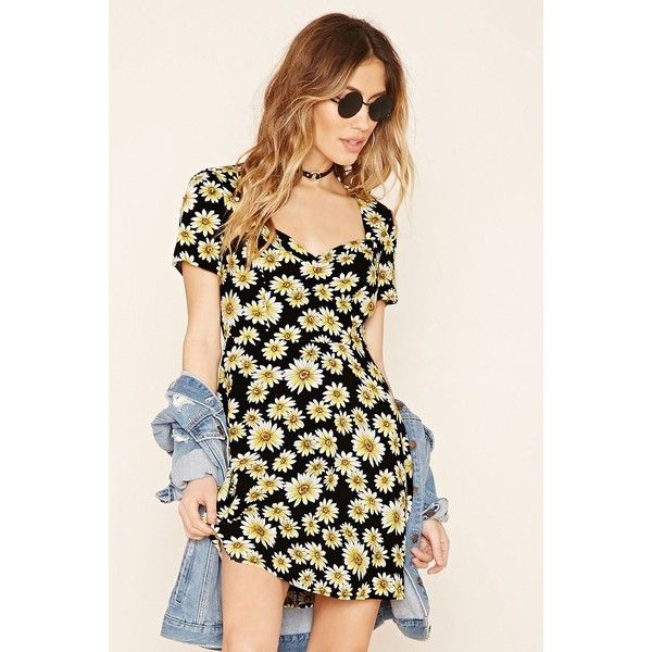 Forever21 Floral Cap-Sleeve Mini Dress ($23) ❤ liked on Polyvore featuring dresses, back zipper dress, daisy dress, floral print dress, floral mini dress and mini dress
