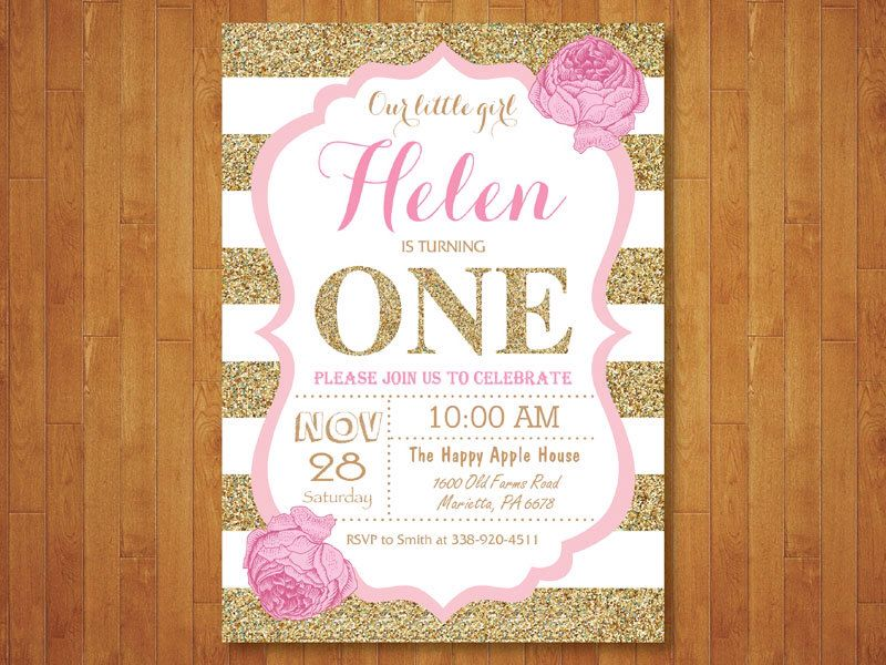 Pink And Gold First Birthday Invitation Girl Party Glitter