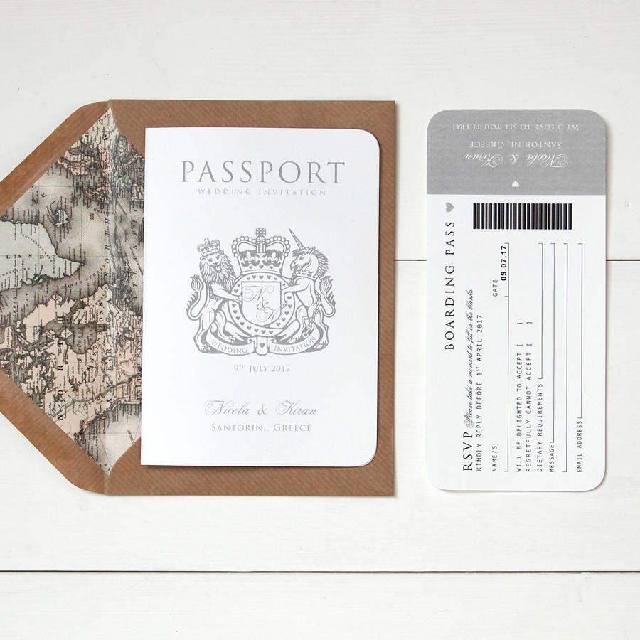 Wedding Invitations: around the world passport wedding invitation