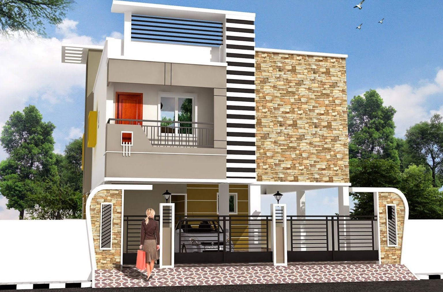 Two Floors House Home Colour Design Modern House Plans House Staircase