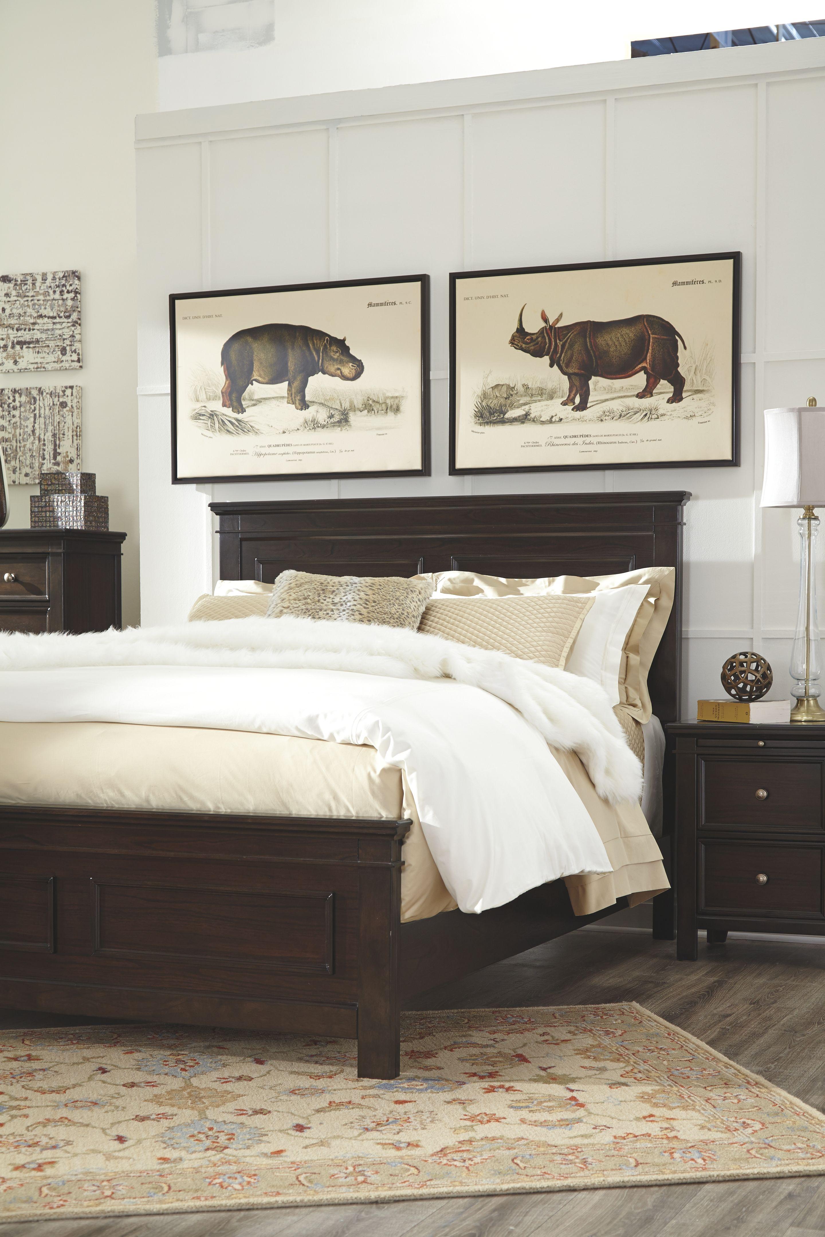 Alexee Queen Panel Bed, Dark Brown Remodel bedroom, Home