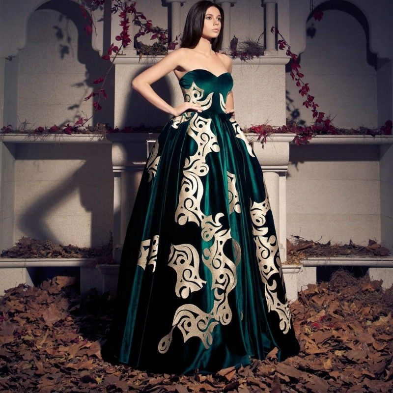 Amazing Floor Long Empire Velour Emerald Evening Dresses 2016 Sweetheart  Off The Shoulder Sleeveless Applique Formal fc788a647d80