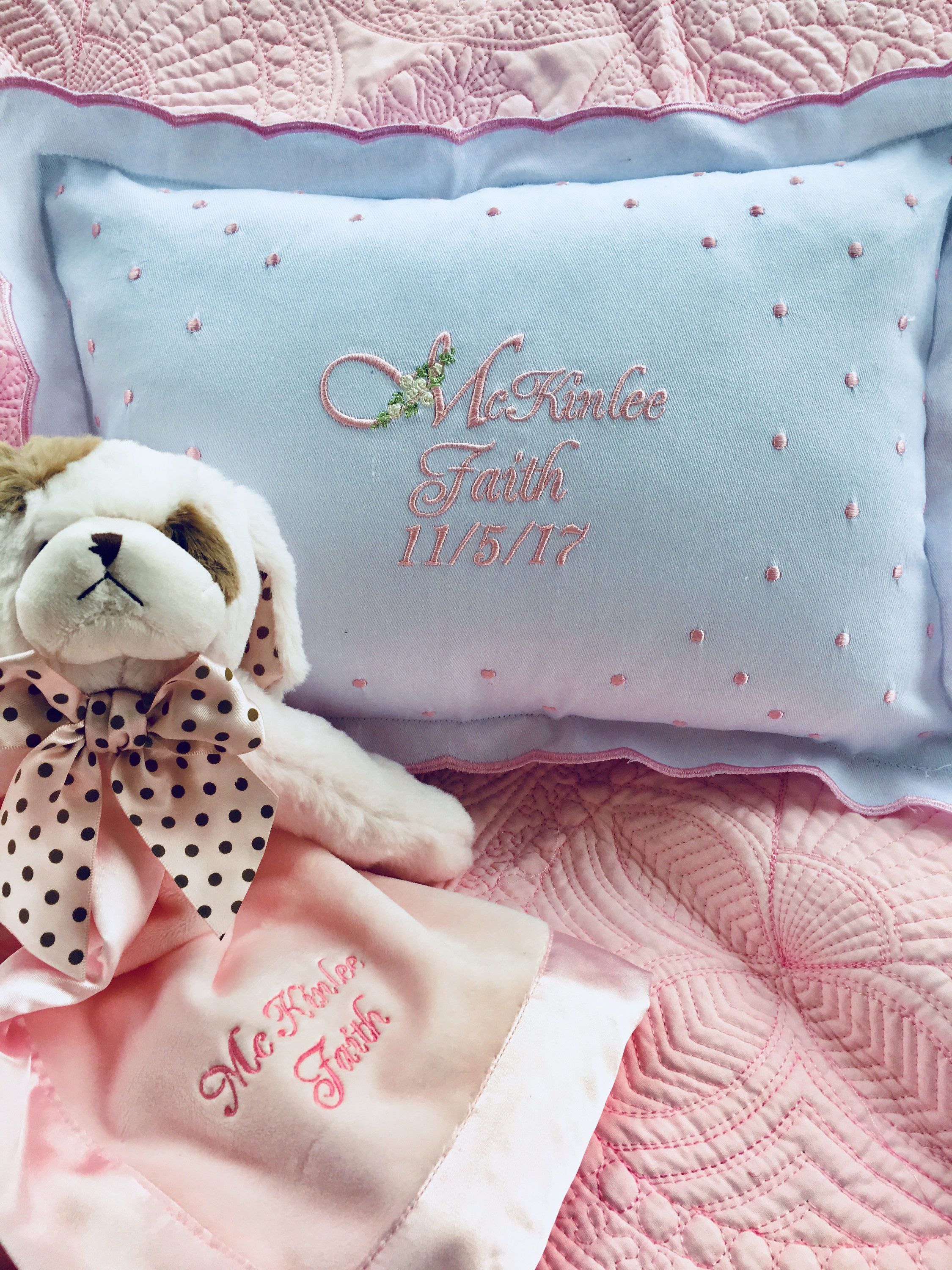Baby girl pillow and plush toy gift set with images