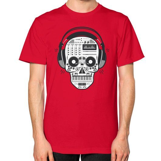 Skull DJ Unisex T-Shirt (on man)