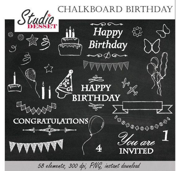 Chalkboard Clipart Birthday Chalk Happy Birthday Party Invites