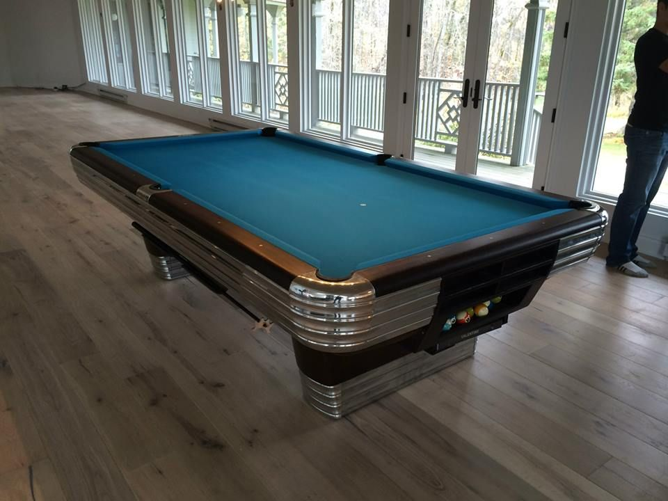 Fully Restored Brunswick Centennial Pool Table With Original Gully Return  Boots, Red Mahogany Stain, High Polished Aluminum Castings And Trim, ...