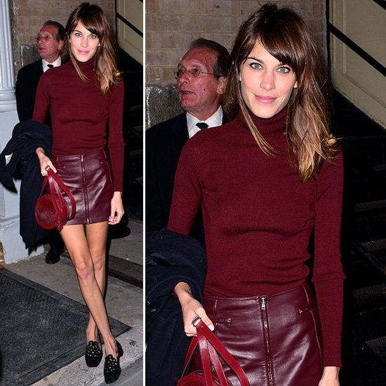 Alexa Chung's Monochrome Maroon Look: Leather Skirt and Turtleneck ...