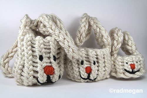 Knitting Easter Bunnies : Loom knitted easter bunny nesting baskets yarn needle
