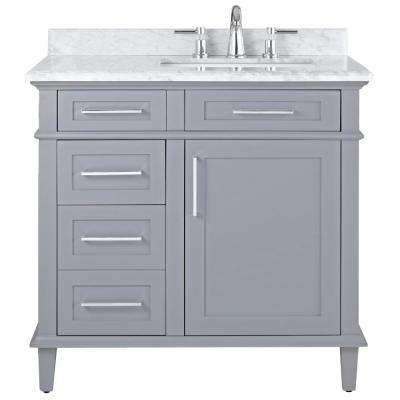 Home Decorators Collection Sonoma 36 In W X 22 In D Bath Vanity In Pebble Grey With Carrara Marble Top With White Sinks 8105100240 Home Depot Bathroom Vanity Home Depot Bathroom Home Depot Vanity