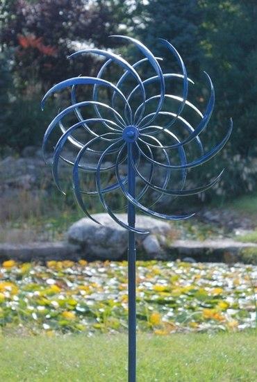 Blue Windswept Kinetic Wind Spinner, Wind Spinners For Garden