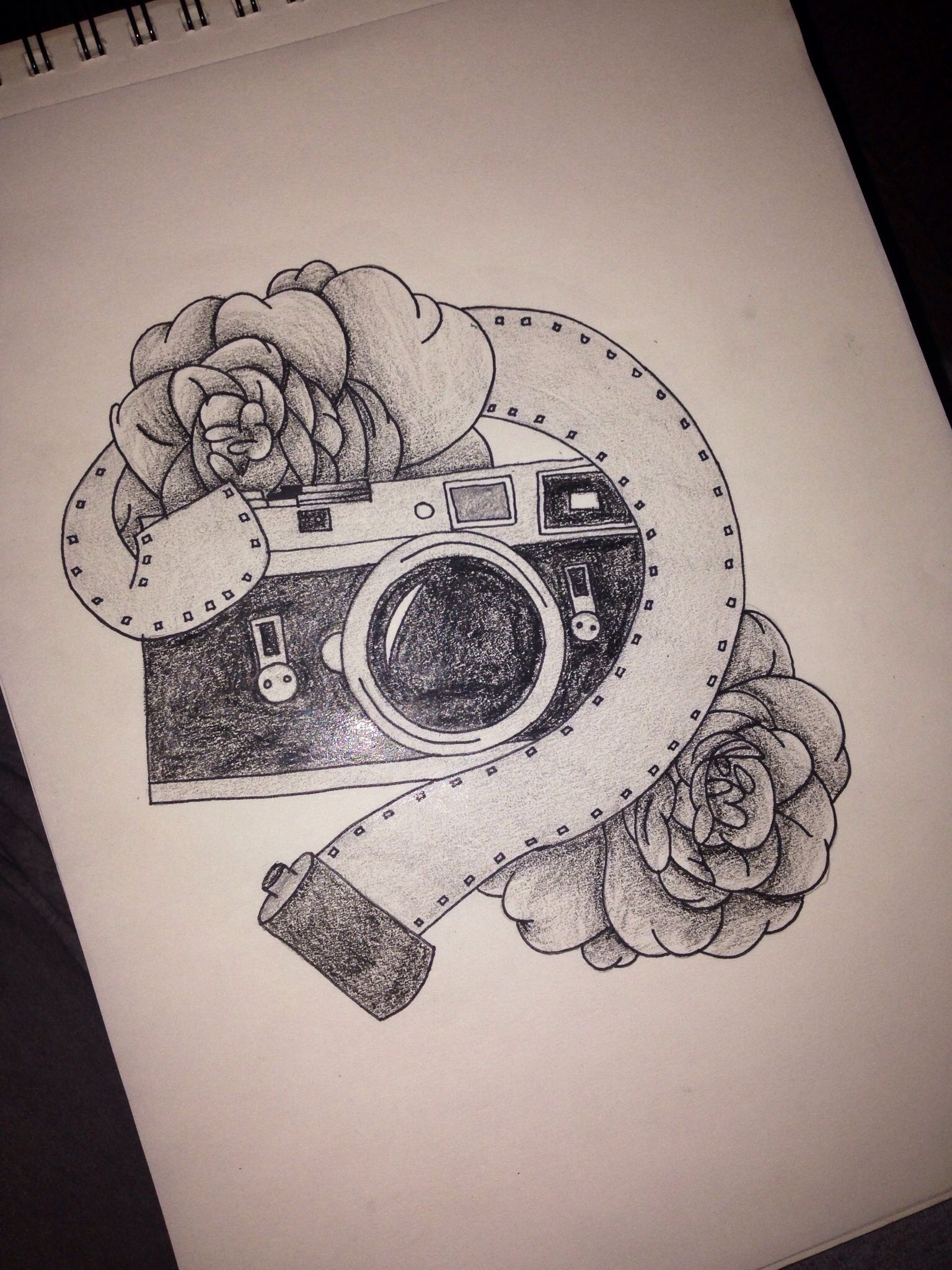 6b15302bf5233 Camera fine rose tattoo design | ink & designs. | Camera tattoos ...
