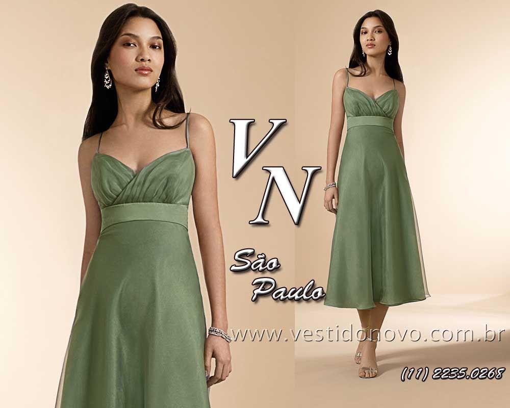 6f5b6c7d7b086 Vestido longuete verde musgo da LOJA VESTIDO NOVO zona sul de SP Este  vestido tem opção