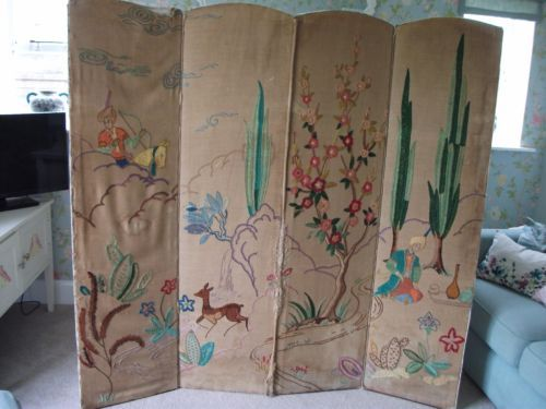 Vintage Wall Divider / Screen Embroidered And Upholstered In Home