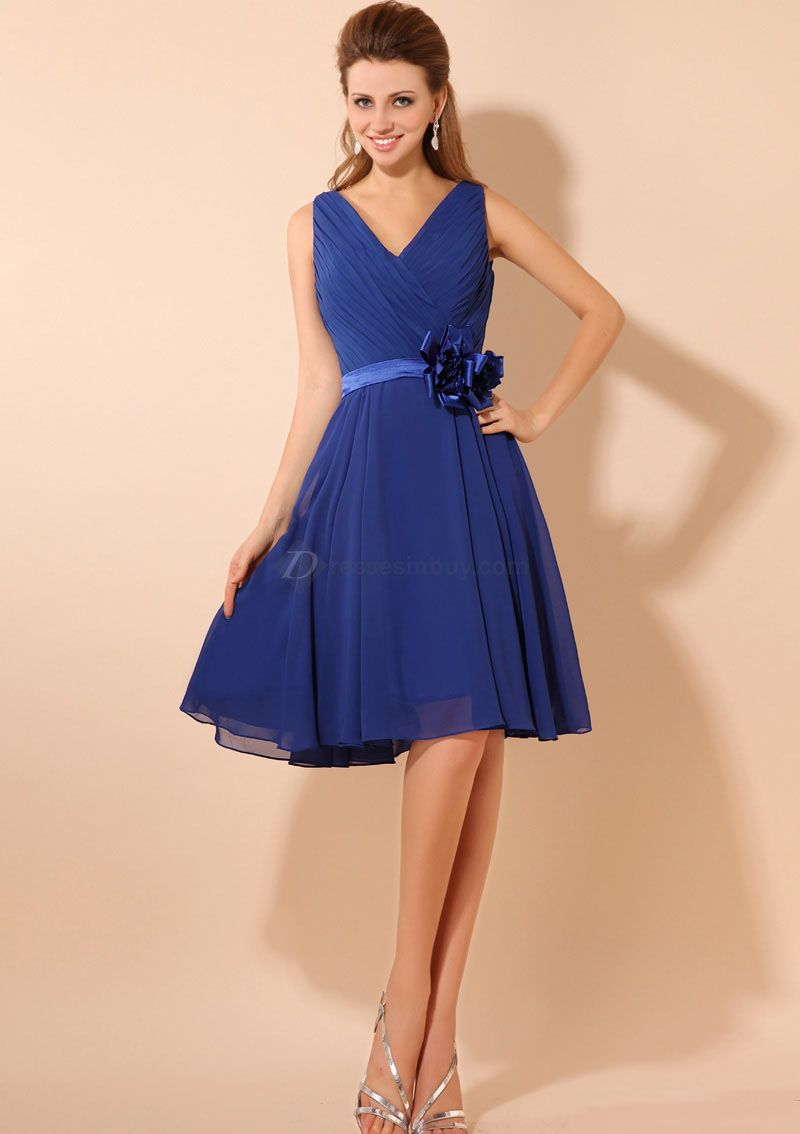 Blue Bridesmaid Dresses Blue Chiffon Kneelength Bridesmaid