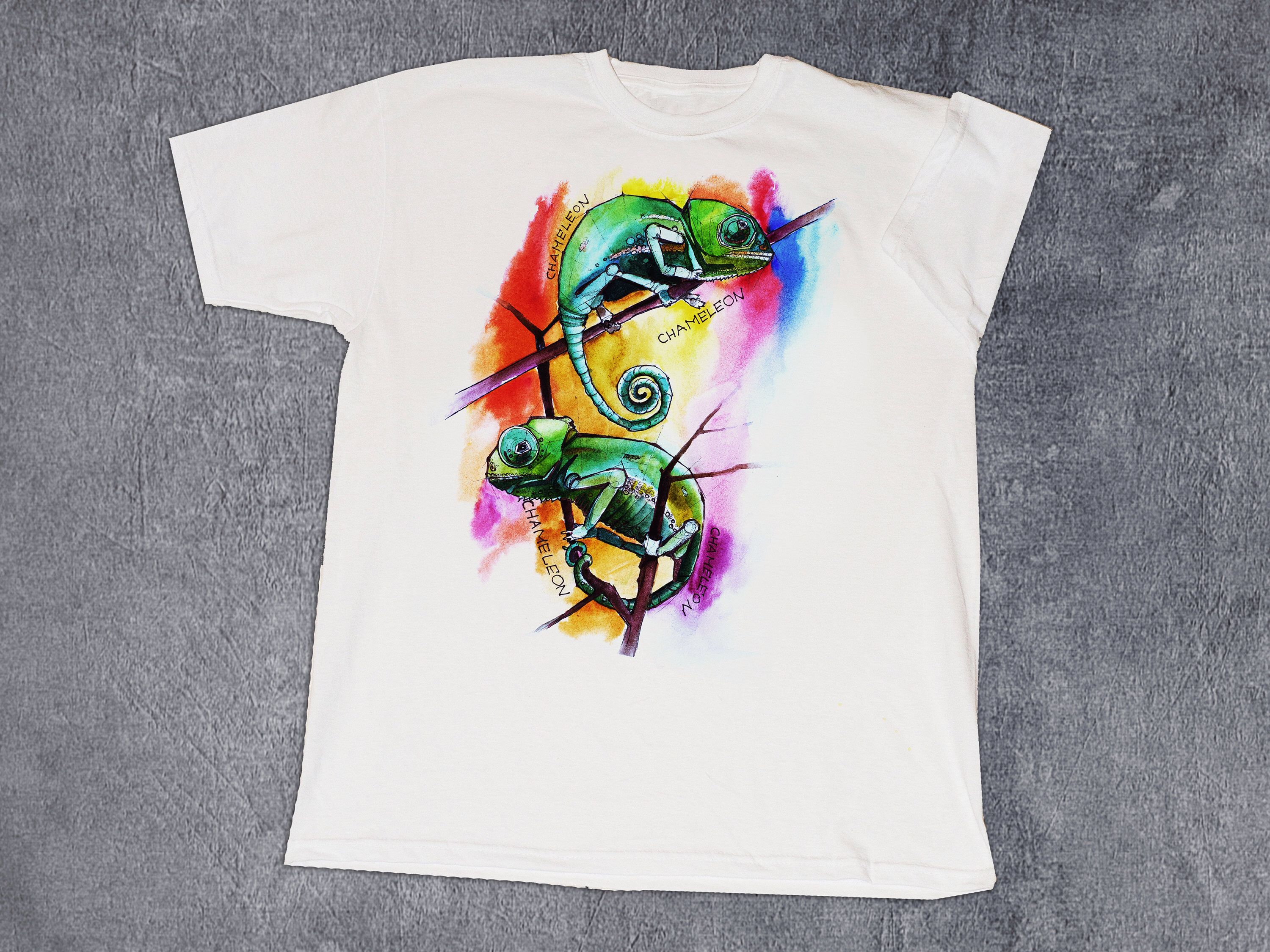 Handpainted T Shirt Chameleon T Shirt Custom Painted T Shirt