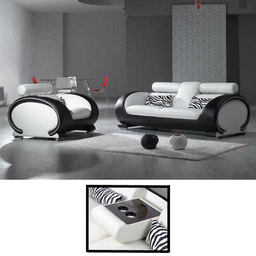 Fagio Black And White Leather Sofa, City Sofa