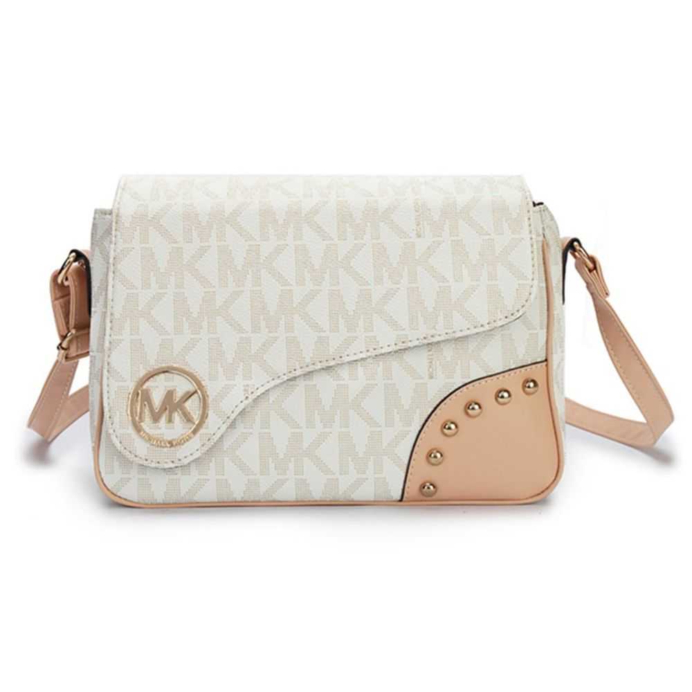 Michael Kors Logo Signature Small Vanilla Crossbody Bags Outlet