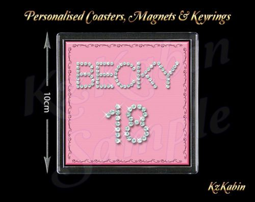 Diamond-Style-Pink-Personalised-Drinks-Coaster-18th-21st-Birthday-Gift
