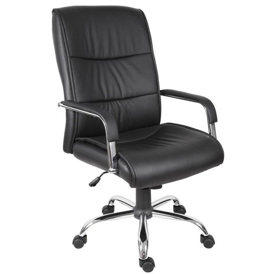 Swivel Executive Chair Black Faux Leather Seat Mobile