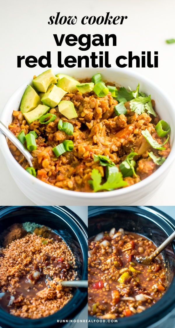 Slow Cooker Vegan Red Lentil Chili