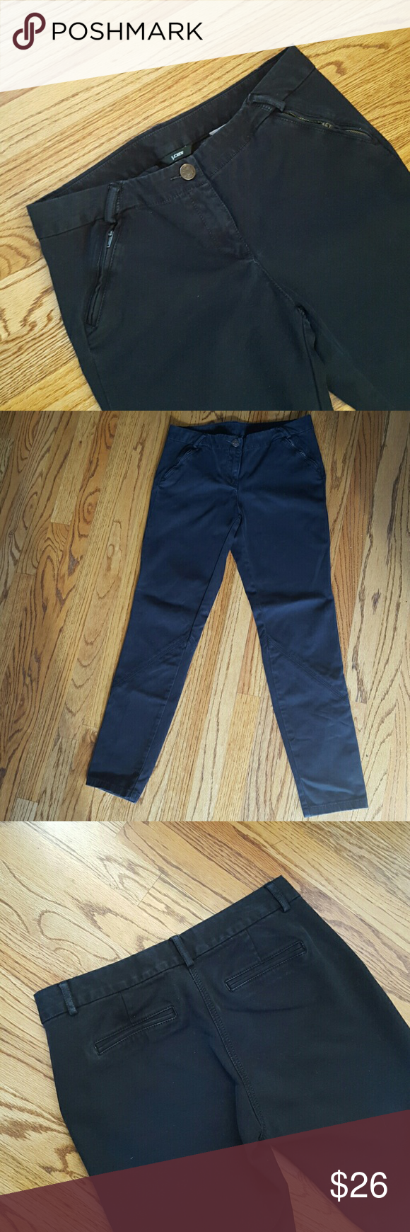 "J Crew skinny pants with zipper Good condition.  Black skinny pants with zipper pockets and cute diagonal stitch detail on front and back calf. Inseam 28"" Rise 8.5"" Fabric 98% cotton, 2% spandex J. Crew Pants Skinny"