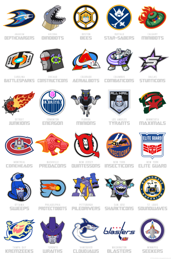 Transformers Hockey League Nhl By Dave Delisle Nhl Logos Hockey Pictures Hockey