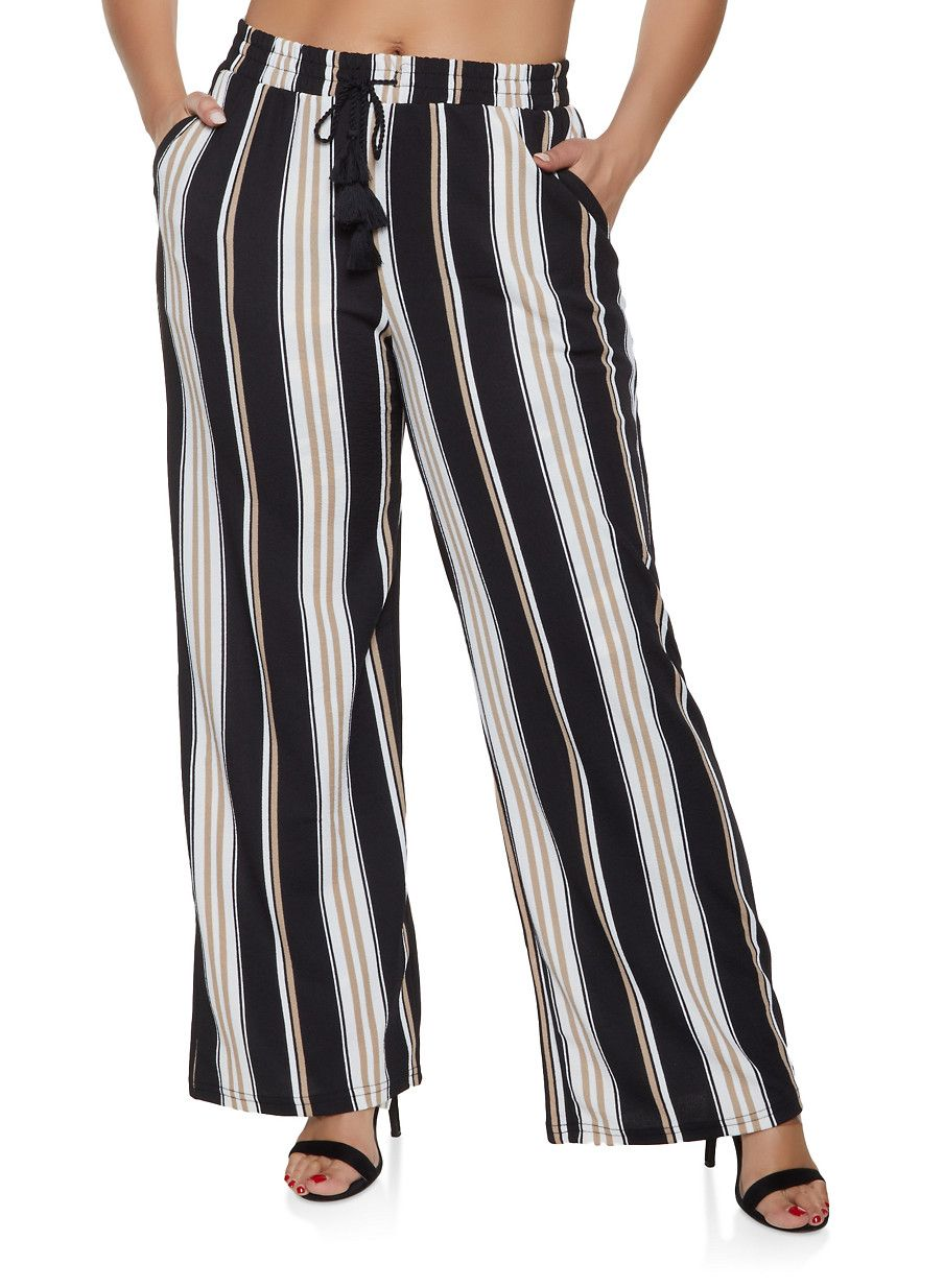 34c9a9c7375f Plus Size Tie Waist Striped Palazzo Pants - Multi - Size 2X in 2019 ...