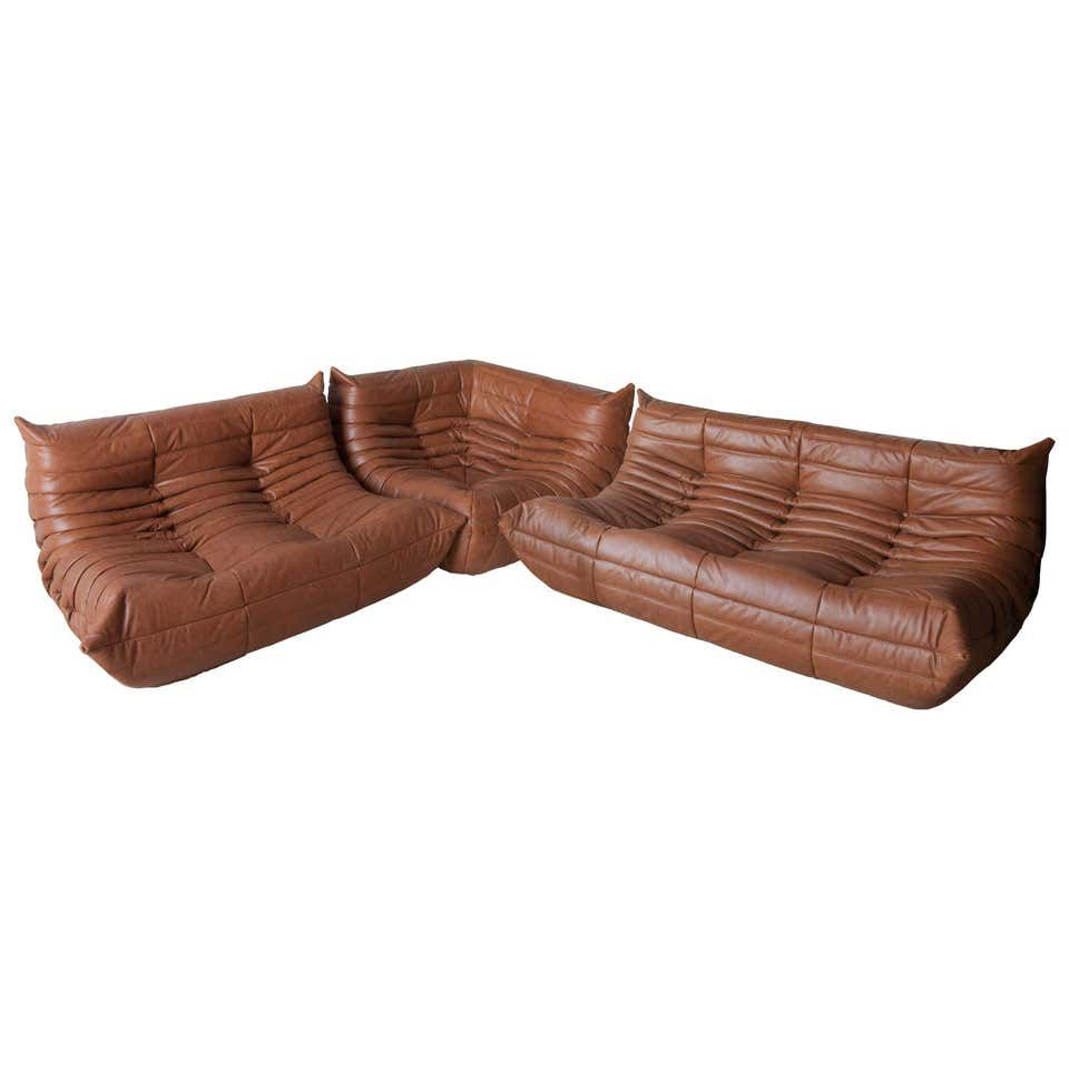 Kentucky Leather Togo Living Room Set By Michel Ducaroy For Ligne Roset For Sale At 1stdibs Ligne Roset Leather Modular Sofa Living Room Sets