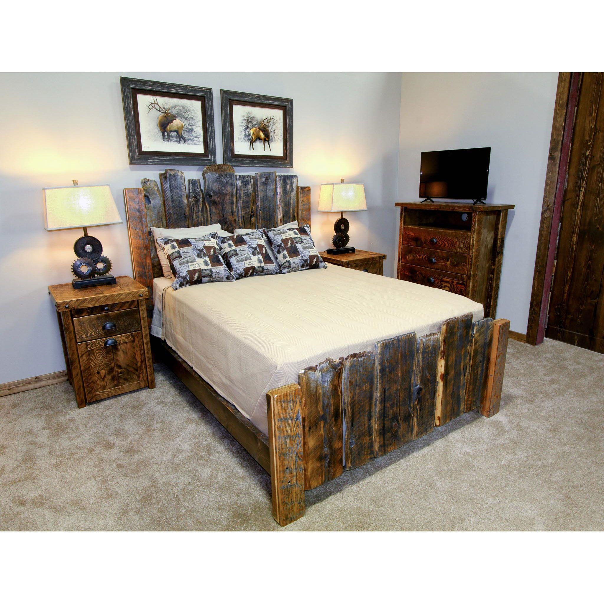 Grey live edge reclaimed wood bed beds pinterest reclaimed