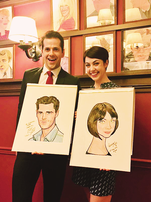 Robert Fairchild & Leanne Cope celebrate their induction into Sardi's