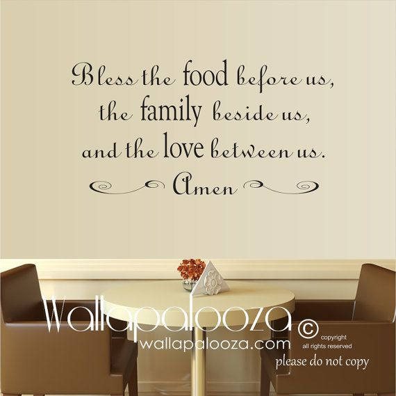 kitchen wall decal bless the food wall decal kitchen decal kitchen decor blessing wall on kitchen decor quotes wall decals id=20576