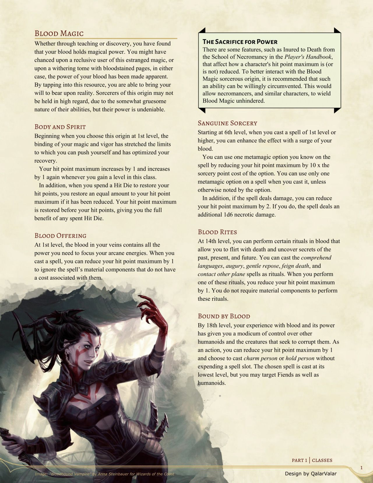 Blood Magic Sorcerer by QalarValar | 5e D&D Homebrew in 2019 | Dnd