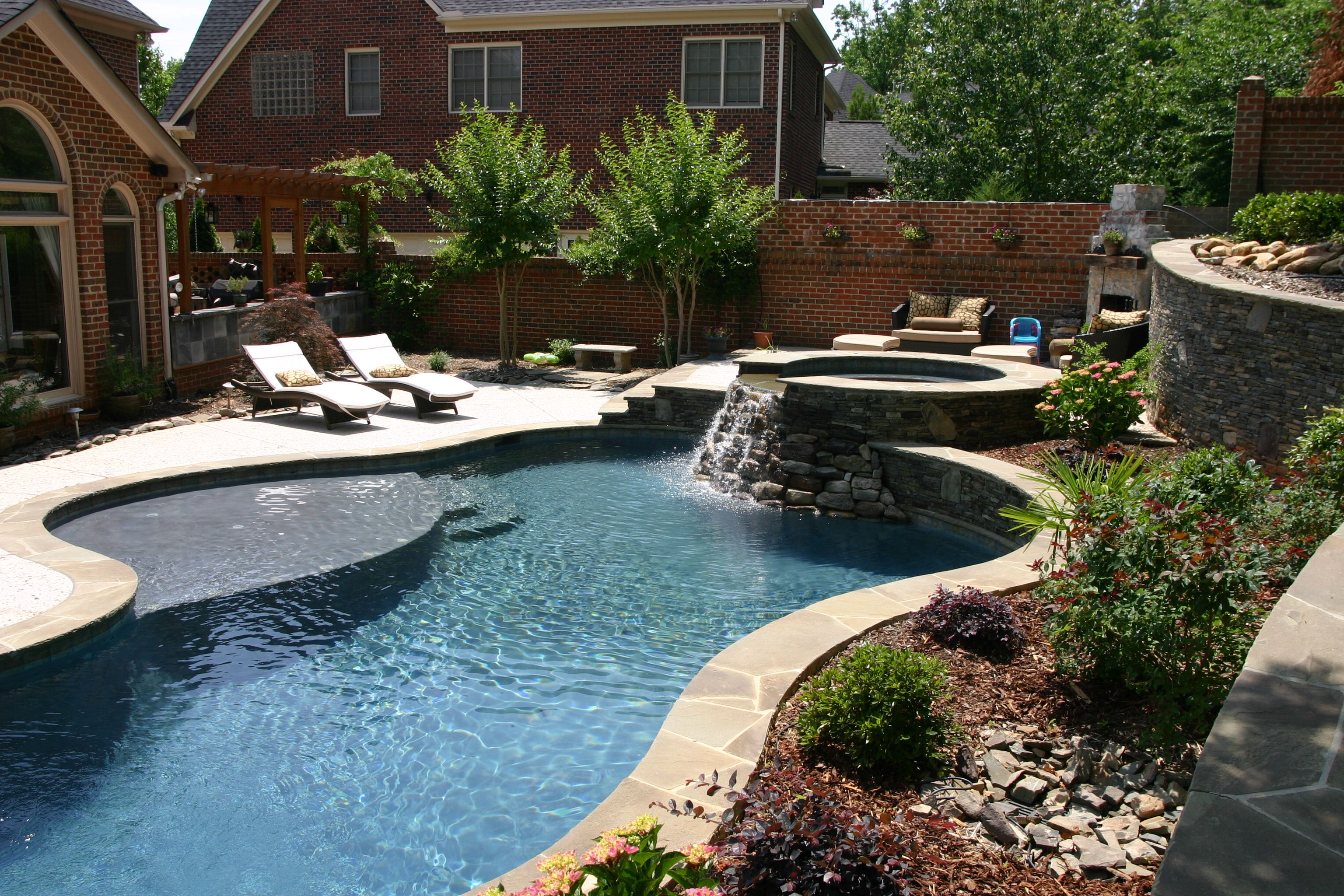 Freeform pool & spa combo with rock waterfall in 2020 ... |Small Freeform Pools With Waterfalls