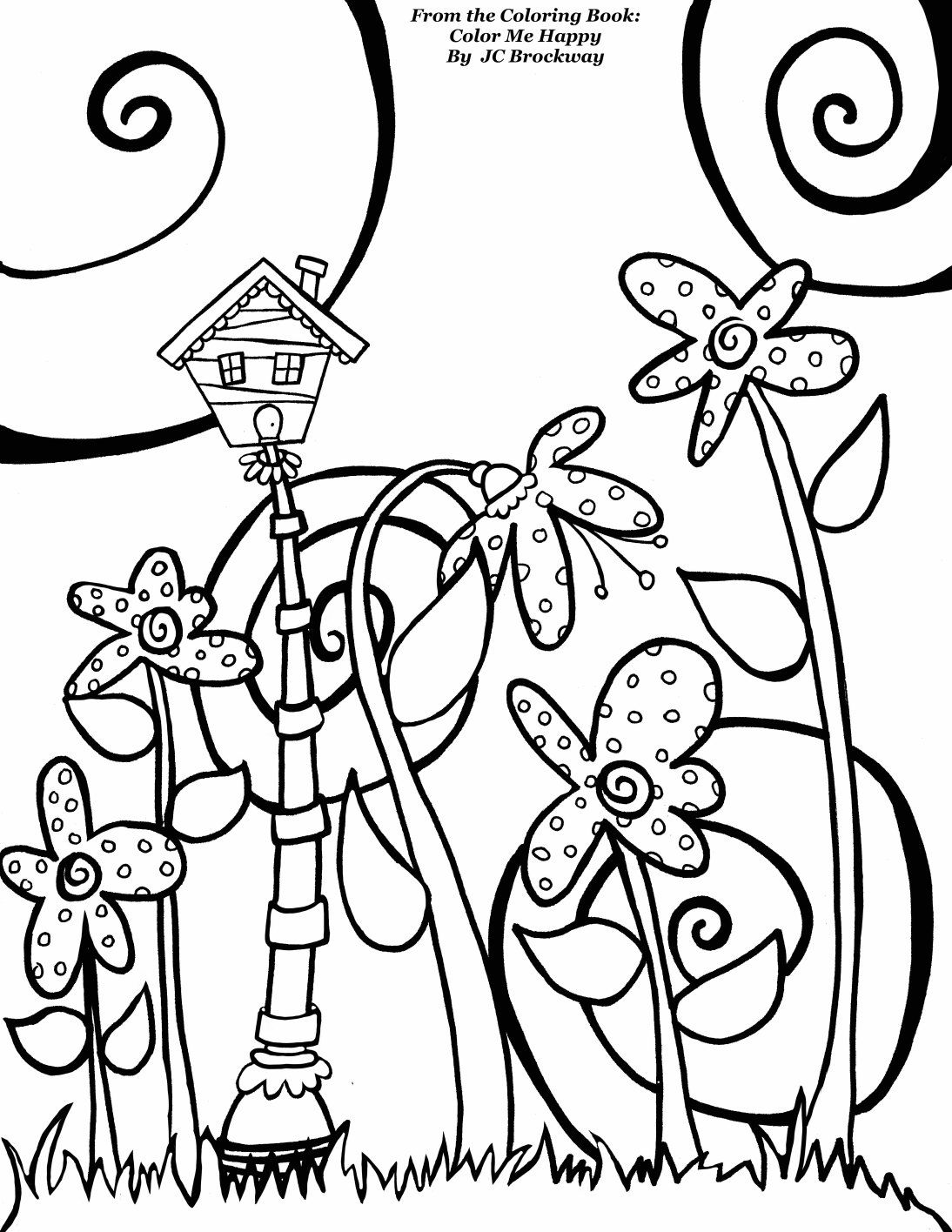 Free birdhouse coloring page from adult coloring worldwide from the coloring book color me happy by j c brockway whimsical doodle art