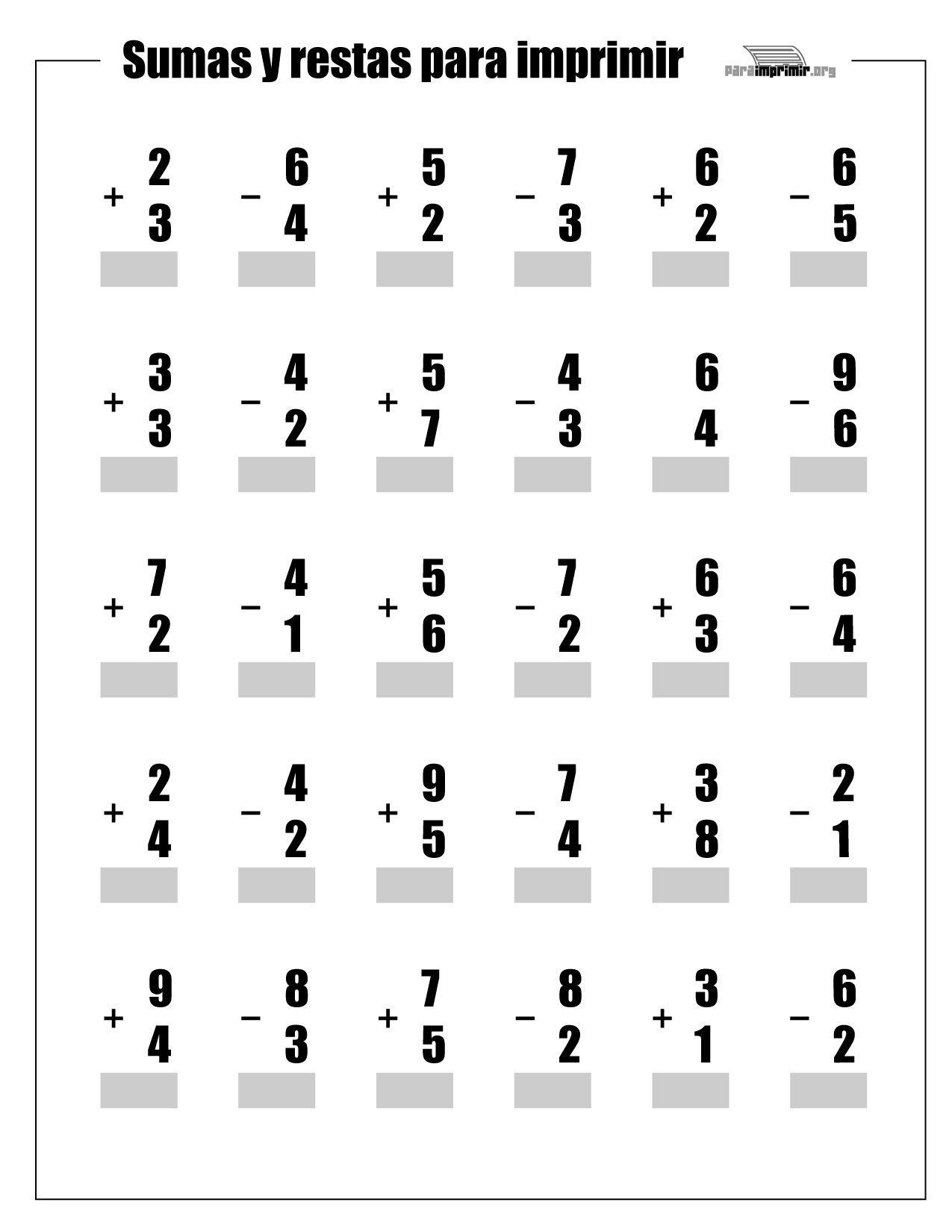 Resultado de imagen de sumas y restas en vertical hasta el 10 ...