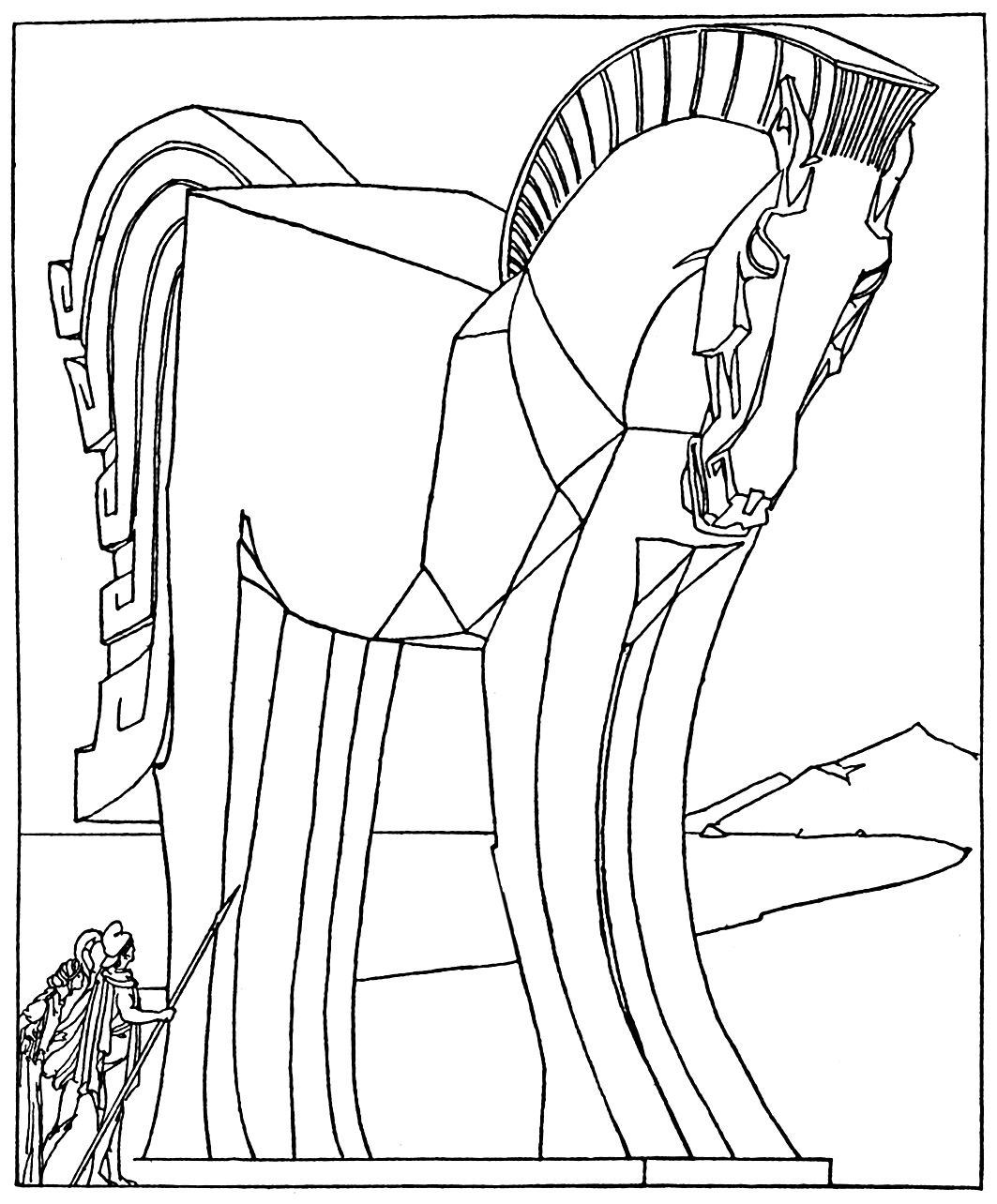 Trojan Horse Coloring Page Youngandtae Com In 2020 Horse Coloring Pages Horse Coloring Horse Coloring Books