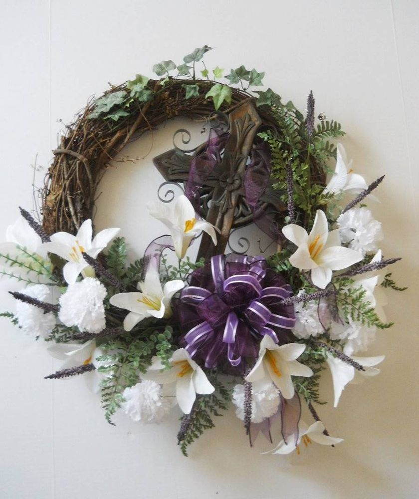 Easter Lily And Cross Door Wreath Silk Flower Arrangement Door Decor Easter Lily Holiday Wreaths Wreaths